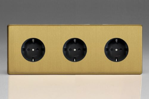 Varilight XEB555FB Euro Brushed Brass 3 Gang 16A Flush Socket with Schuko Earth